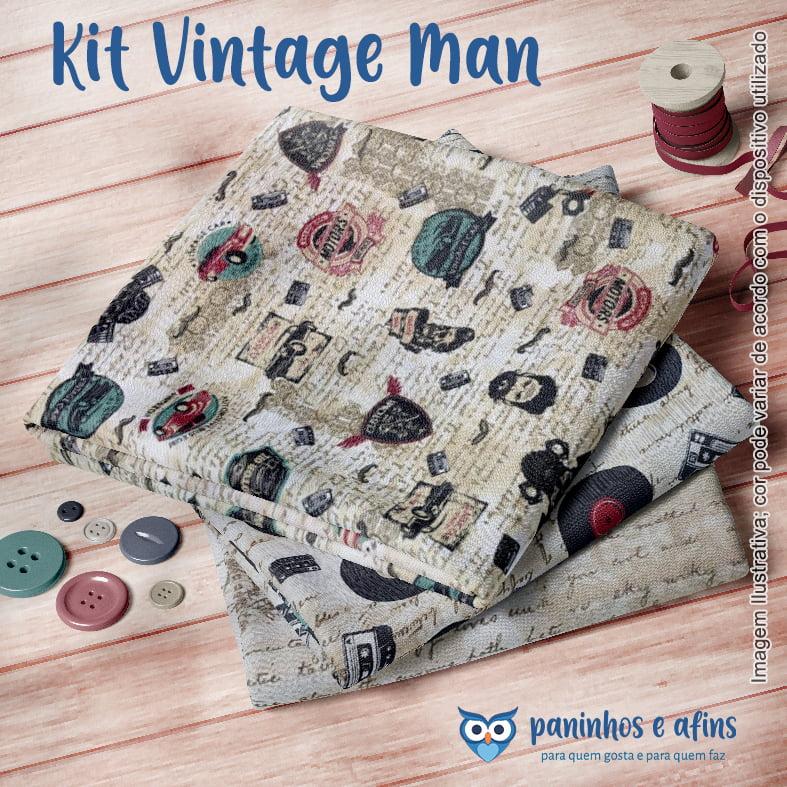 Kit Vintage Man - Estilotex - 3 Cortes de Aprox. 50cm x 75cm de cada Estampa