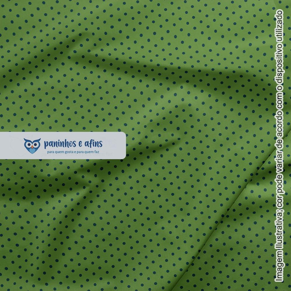 Poá Azul no Verde - Coleção Basics & Colors - Fabricart - 50cm X 150cm