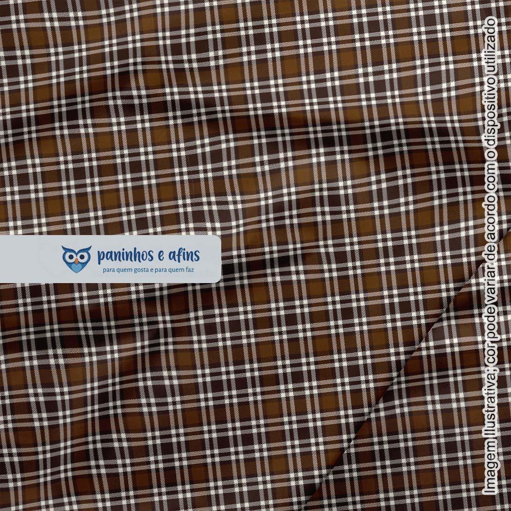 Xadrez Dundee Marrom 4 - Coleção Xadrez Tartan - Fabricart - 50cm X 150cm
