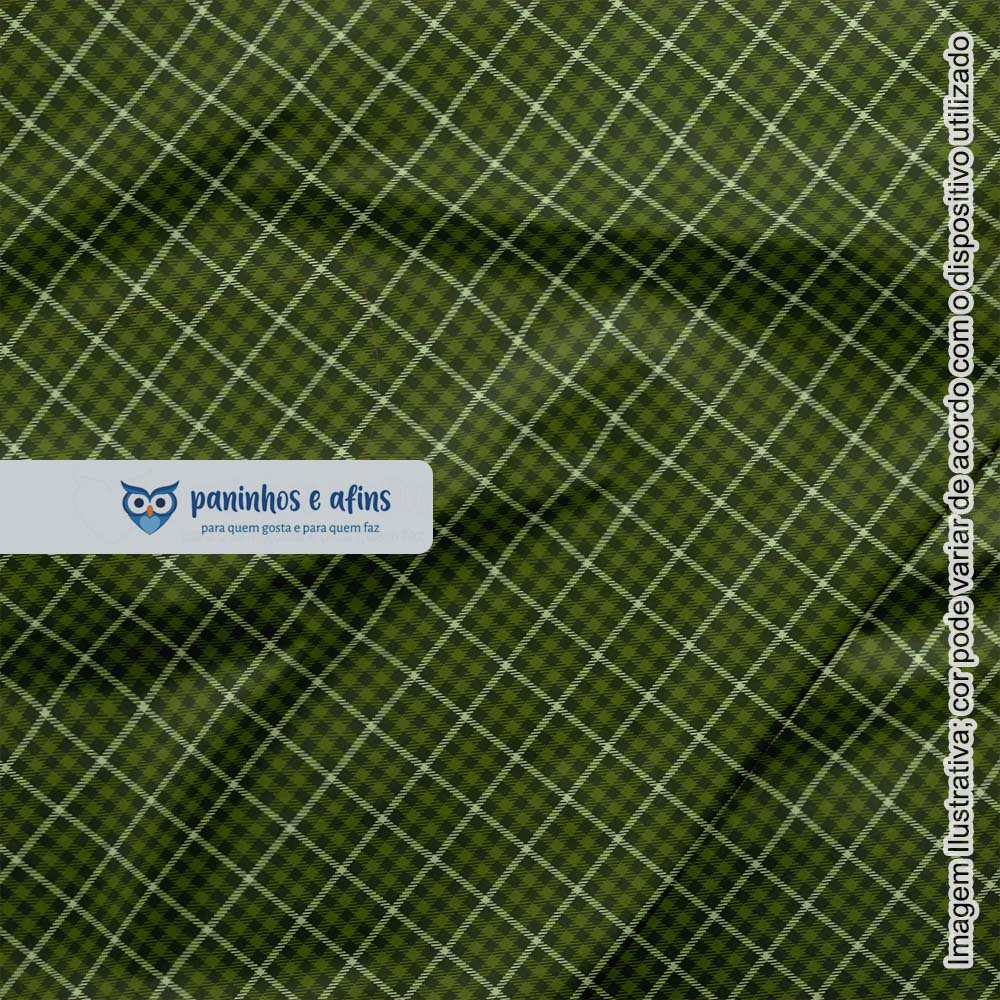 Xadrez Inverness Oliva 5 - Coleção Xadrez Tartan - Fabricart - 50cm X 150cm