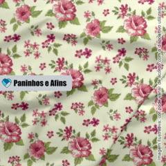 Flor Fundo Creme - Coleção Beautiful Smile  - Fabricart - 50cm X 150cm