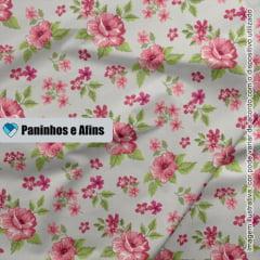 Flor Fundo Cinza - Coleção Beautiful Smile  - Fabricart - 50cm X 150cm