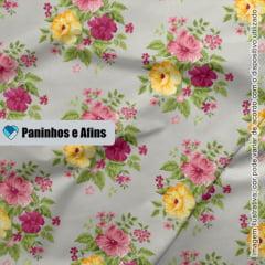 Grand Bouquet Cinza - Coleção Beautiful Smile  - Fabricart - 50cm X 150cm
