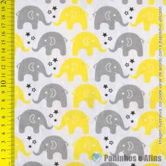 Elefantes Cinza e Amarelo fundo Branco