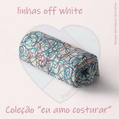 Linhas Fundo Off White - Coleção Amo Costurar - Paninhos e Afins Digital - 50CM X 150CM