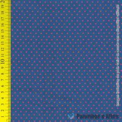 Poá Vermelho  Fundo Azul - Básico - Outras  - 50cm X 150cm