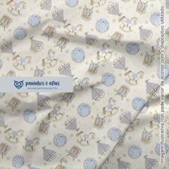 Brinquedos Baby Azul - Coleção Baby Digital - Fuxicos e Fricotes - Digital - 50cm X 150cm