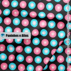 Flores Modernas Preto - Coleção Peace and Love - Linha Signature - Fabricart - 50CM X 150CM