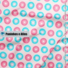 Flores Modernas Rosa - Coleção Peace and Love - Linha Signature - Fabricart - 50CM X 150CM