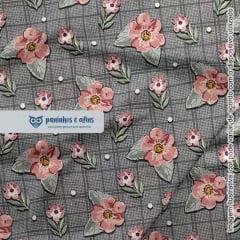 Mini Floral Sweet Grafite - Coleção Requinte - Fuxicos e Fricotes - Digital - 50cm X 150cm