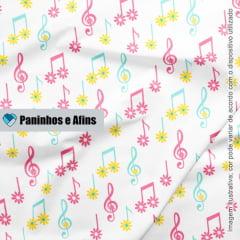Notas Musicais Light - Coleção Peace and Love - Linha Signature - Fabricart - 50CM X 150CM