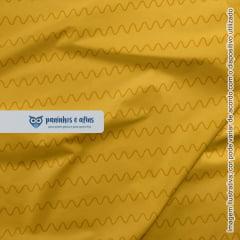 Ondas Mostarda - Coleção Monstrinhos - Fabricart - 50cm X 150cm