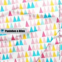 Triângulos Multicolor - Coleção Peace and Love - Linha Signature - Fabricart - 50CM X 150CM