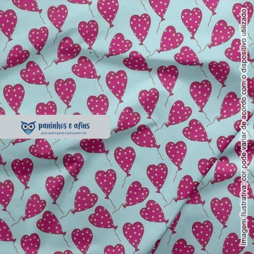 Balões de Corações - Coleção Sonho e Magia - Fabricart - 50cm X 150cm