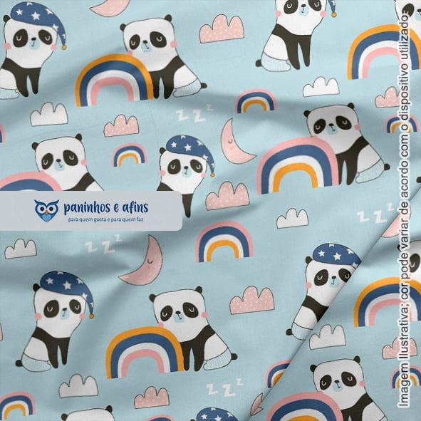 Panda no Azul Claro - Coleção Sweet Dreams - Linha Signature - Fabricart - 50CM X 150CM